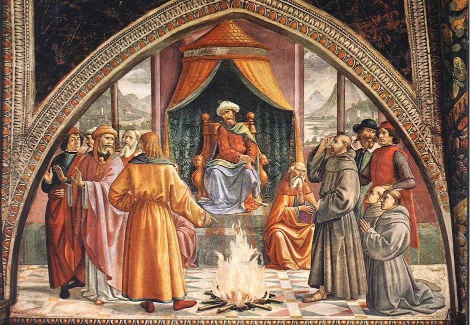 St. Francis's Trial by Fire , Ghirlandaio. Church of Santa Trinità, Florence. [ source ]