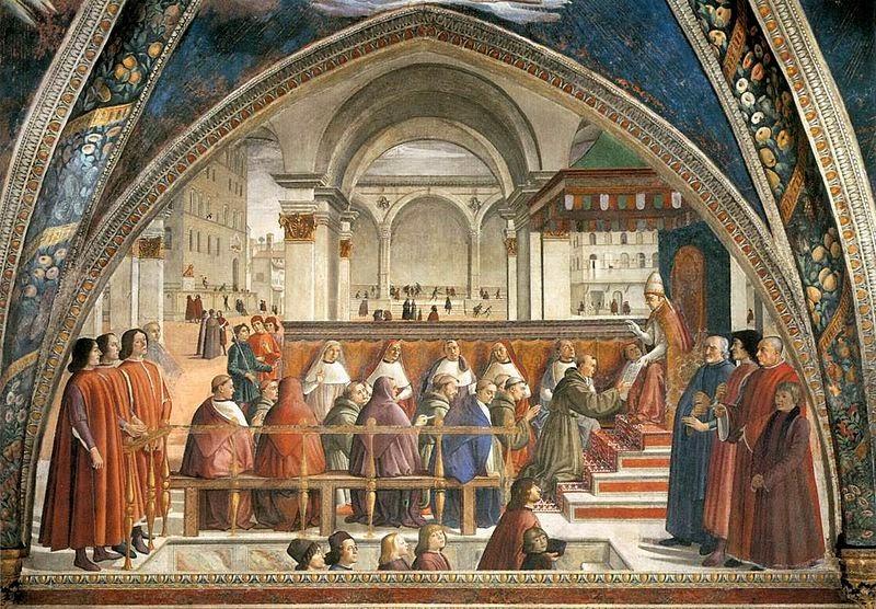 Confirmation of Franciscan Rule , Ghirlandaio. Church of Santa Trinità, Florence. [ source ]