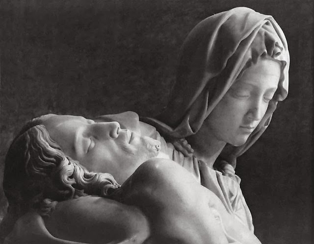 Detail of the Pietà, Michelangelo, St. Peter's Basilica, Rome [ source ]