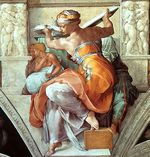 The Libyan Sybil , detail from the ceiling of the Sistine Chapel, Michelangelo [ source ]