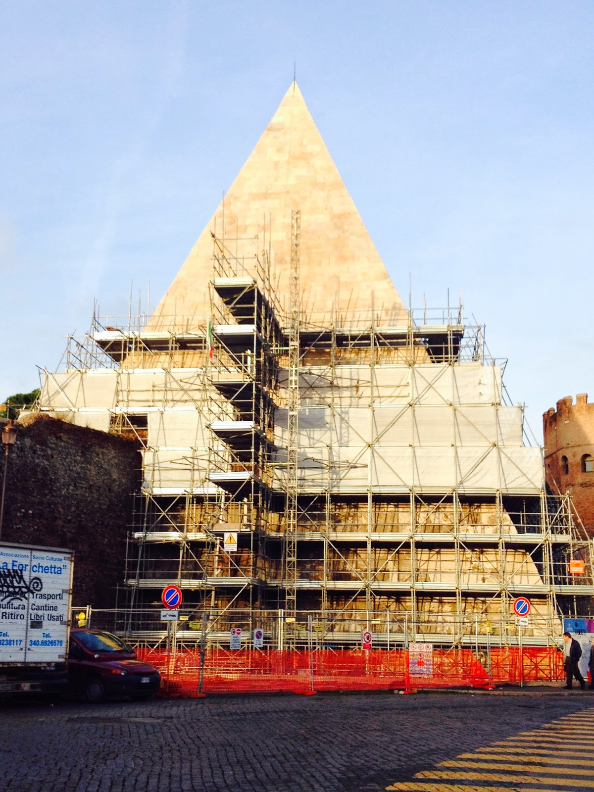 The Pyramid of Cestius during renovations. © Tiffany Parks
