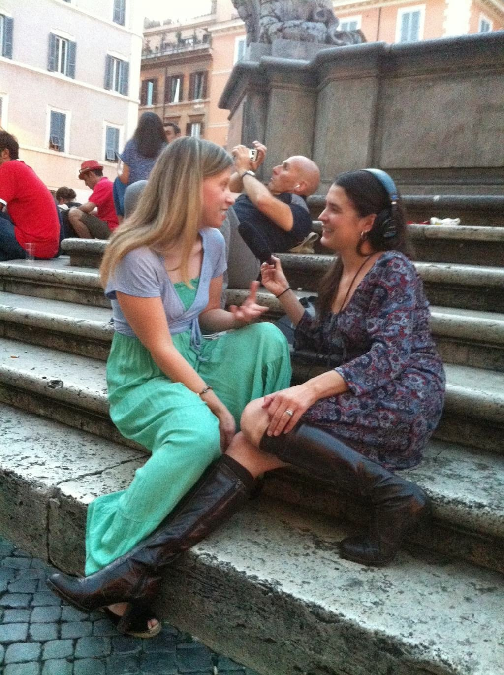 Recording an episode of  The BitterSweet Life  with Katy Sewall in Piazza Santa Maria in Trastevere