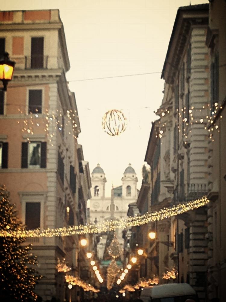 Via Condotti and Trinità dei Monti decorated with fairy lights