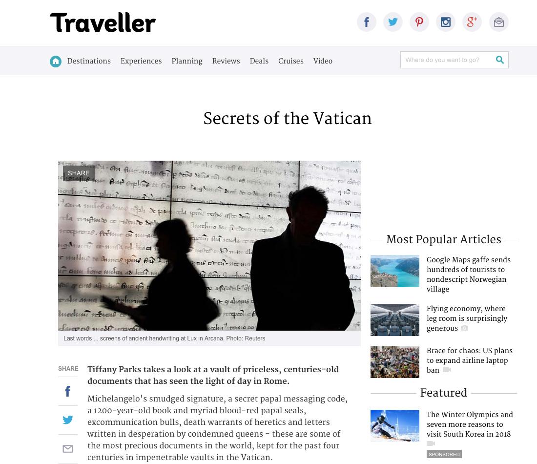 Secrets of the Vatican, Traveller, March 2012.jpg
