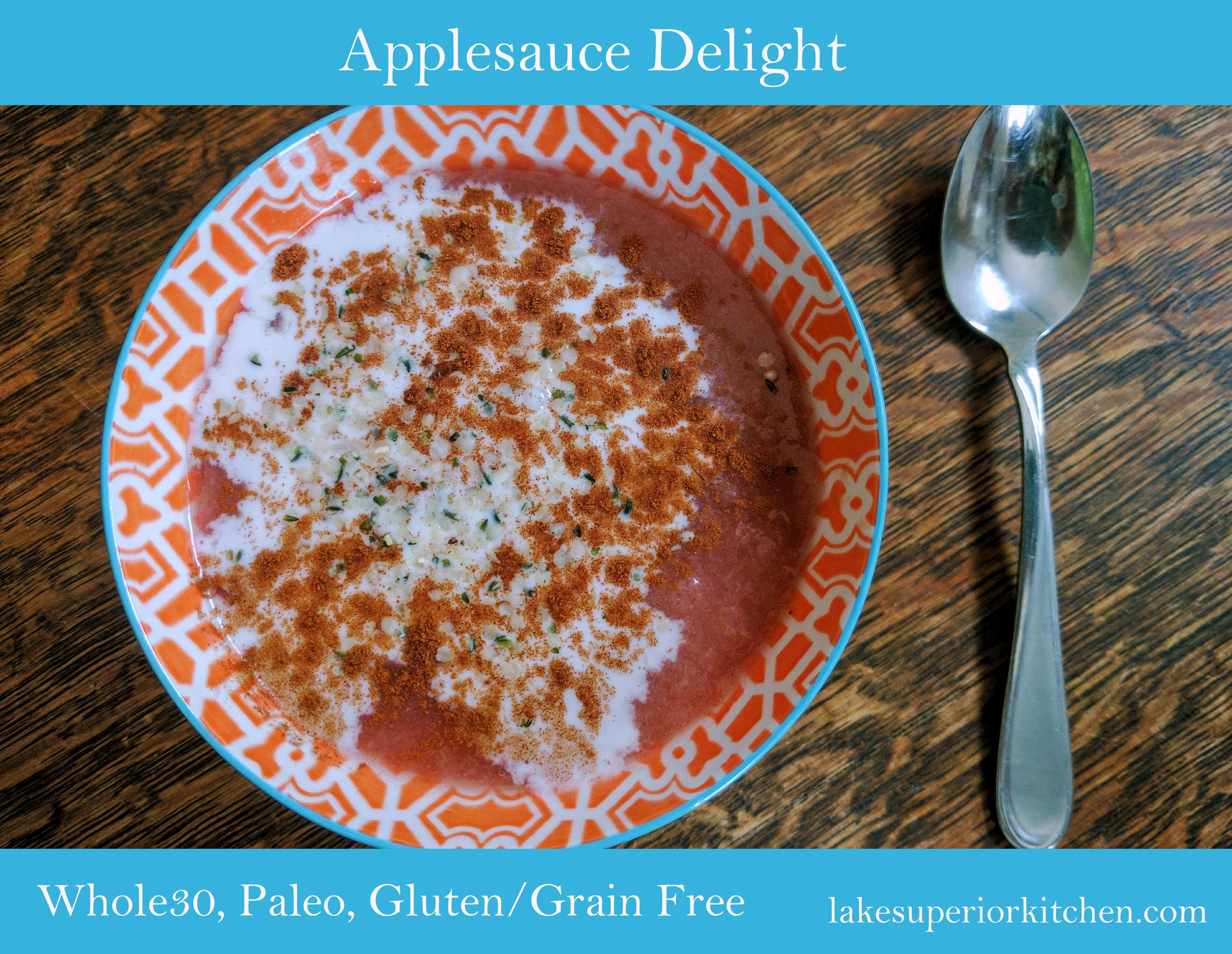 applesauce delight, whole30, paleo, healthy snack, hemp