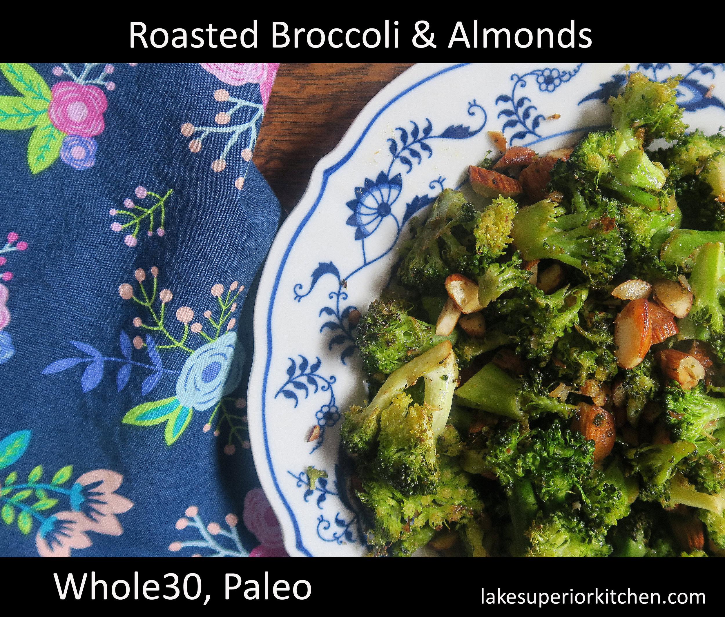 paleo recipe, whole30 recipe, broccoli, almonds, whole30, healthy side dish, vegetable, grain free