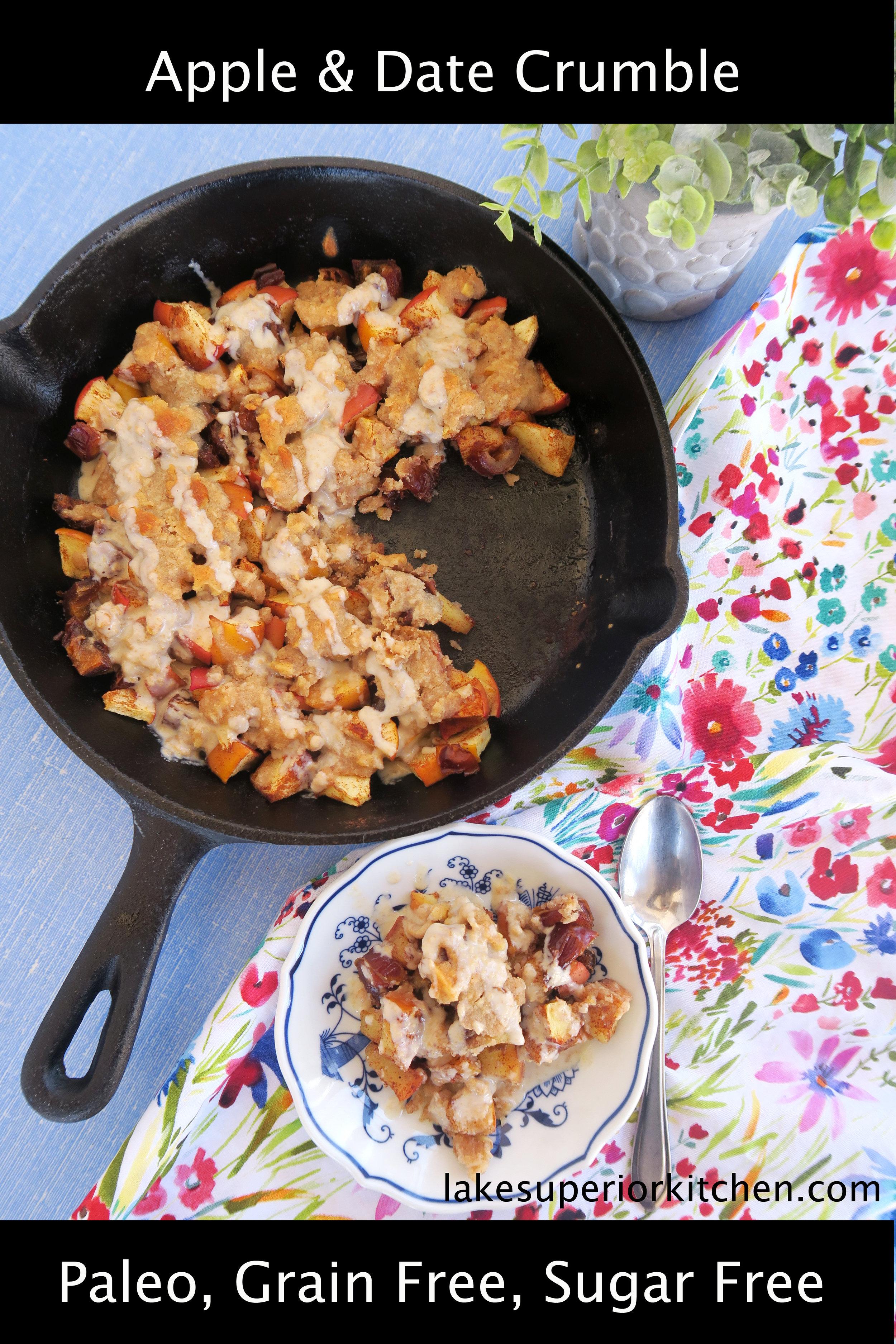 paleo, paleo recipe, apple crisp, apple crumble, healthy dessert, paleo dessert, date recipe, apple recipe, healthy, lake superior kitchen