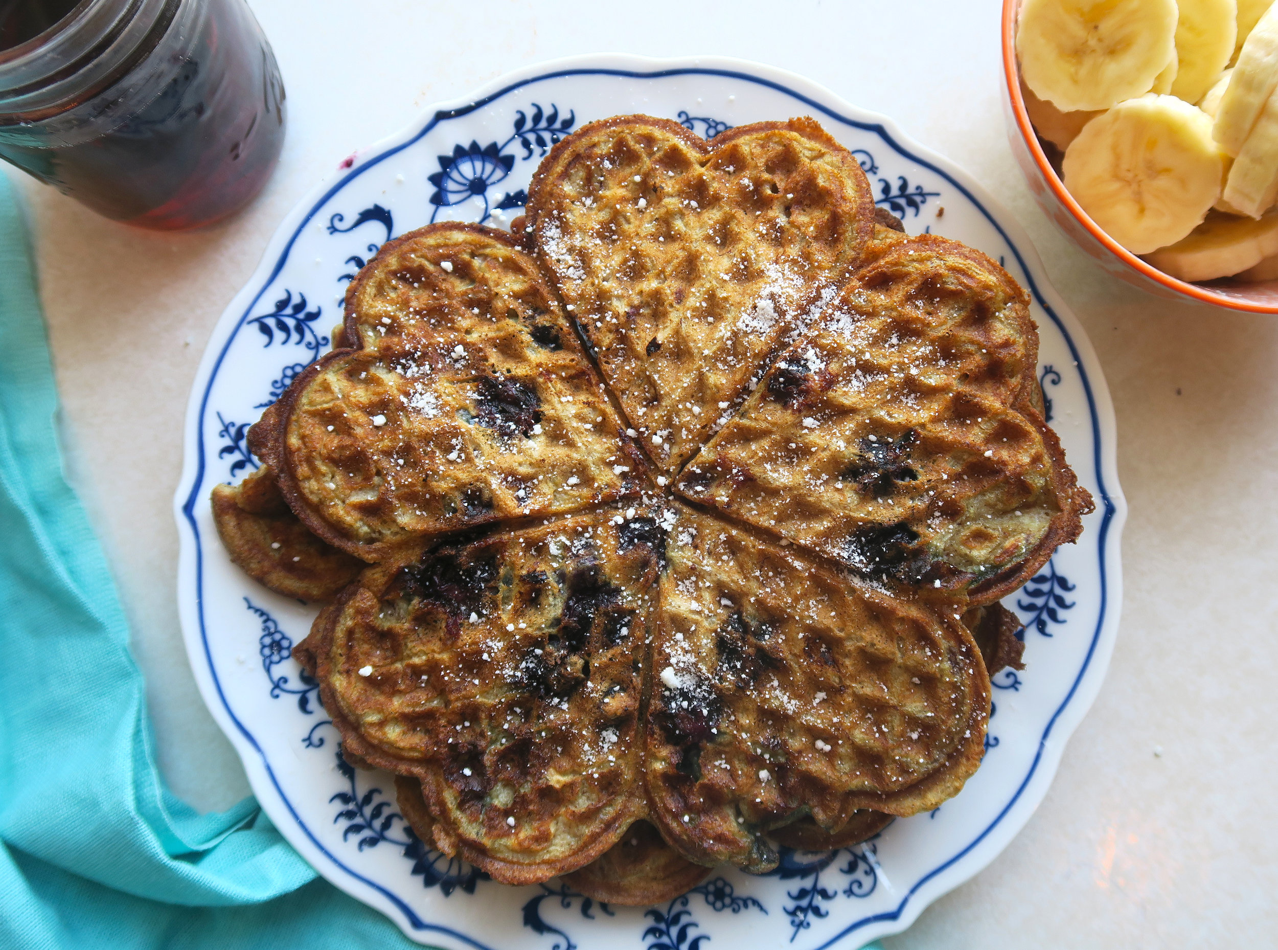 blueberry banana waffles, lake superior kitchen, duluth food, healthy breakfast, brunch