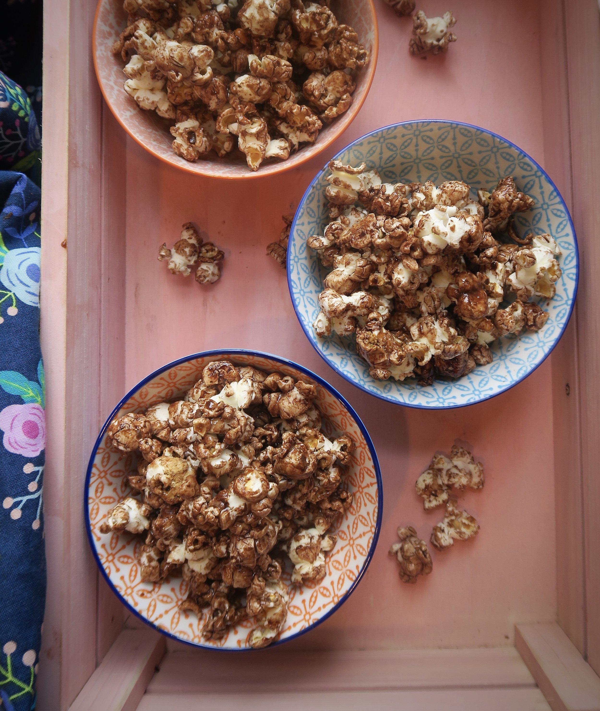 chocolate peanut butter popcorn, Lake Superior kitchen, Duluth food, healthy kid snacks, healthy popcorn
