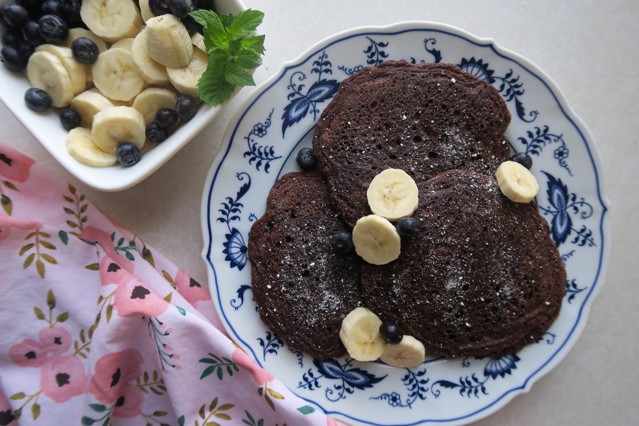 maca cocoa pancakes, Lake Superior kitchen, Duluth food, healthy pancakes, paleo