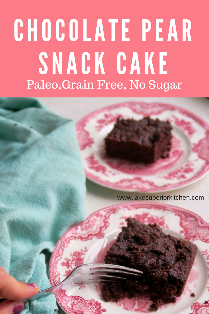 Chocolate Pear Snack Cake, Paleo, Grain Free, Lake Superior Kitchen, Paleo dessert, grain free dessert