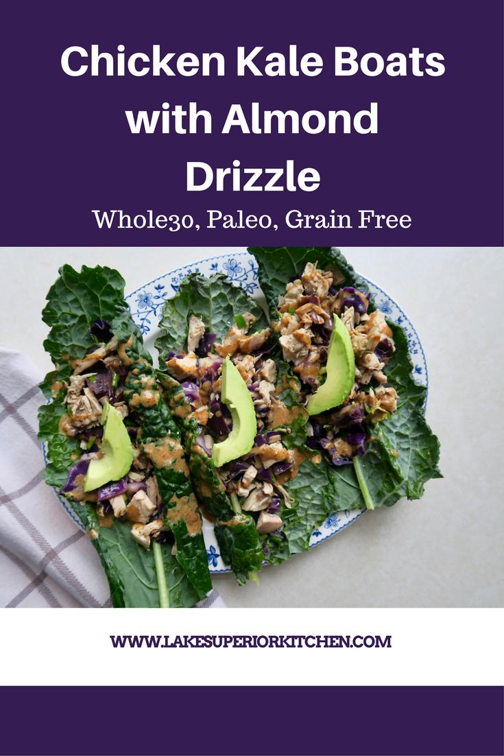 Chicken Kale Boats with Almond Drizzle, Lake Superior Kitchen, Paleo, grain Free, ketogenic