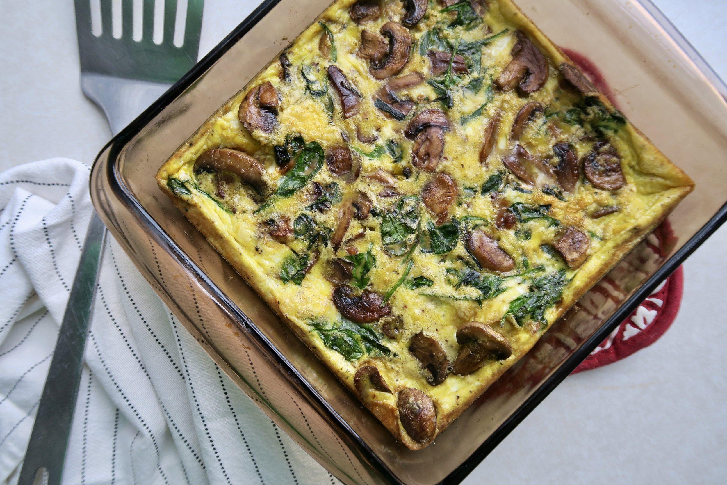 Spinach & Mushroom Frittata, Lake Superior Kitchen, Whole30 breakfast, Paleo breakfast, Grain Free