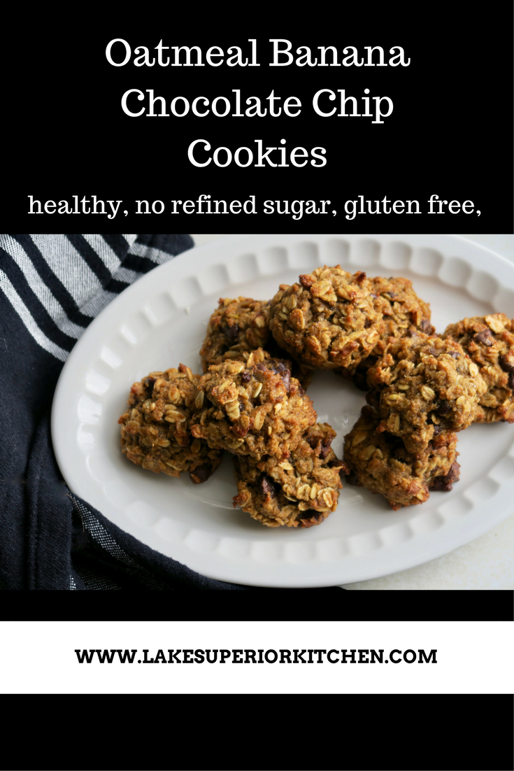 Oatmeal Banana Chocolate Chip Cookies, Lake Superior Kitchen, gluten free, no sugar