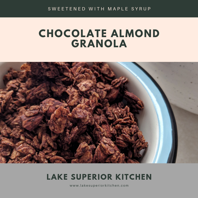 Chocolate Granola, Lake Superior Kitchen, gluten free, no sugar, healthy granola