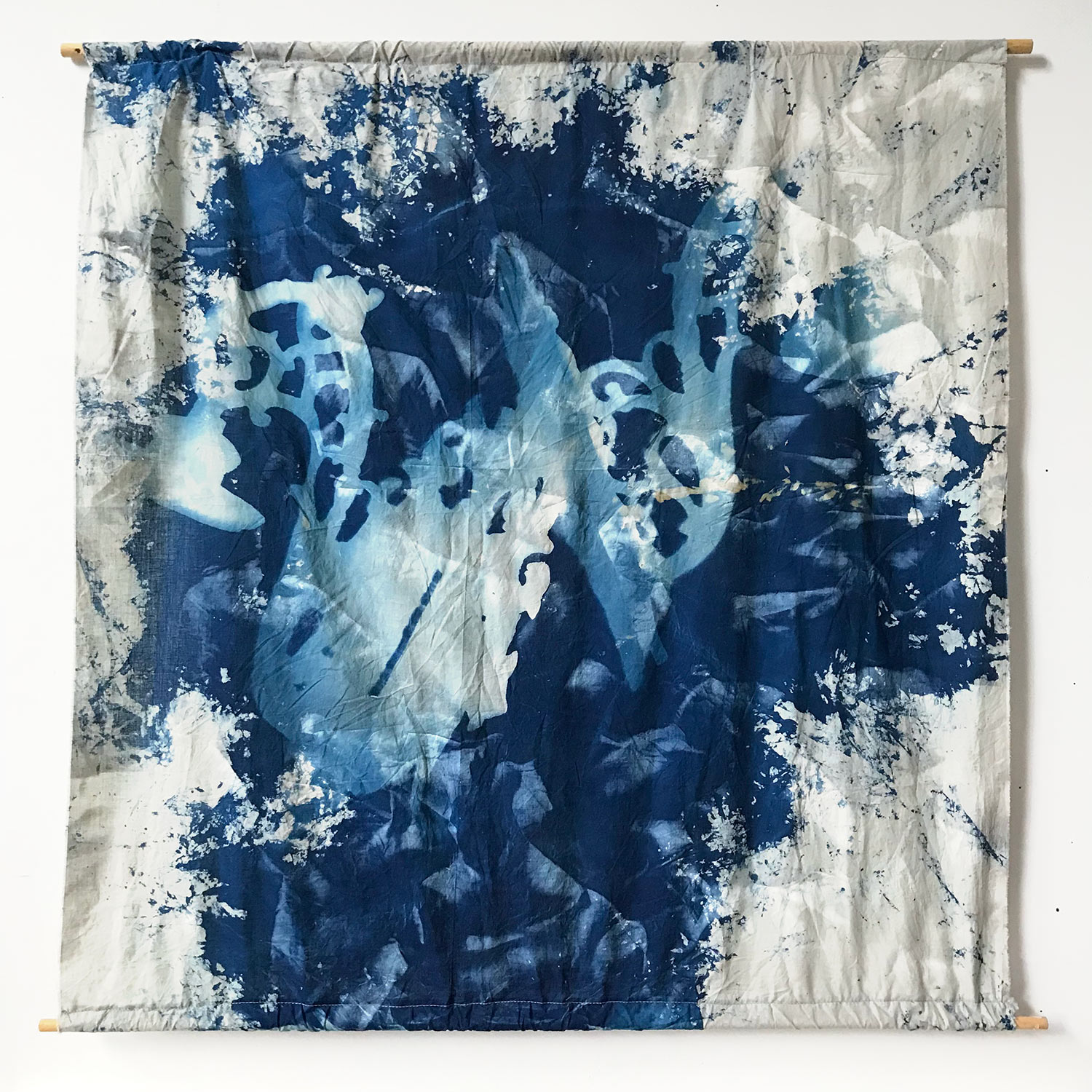 Cyanotype and spray paint on fabric. Made in collaboration with Kate Steciw.