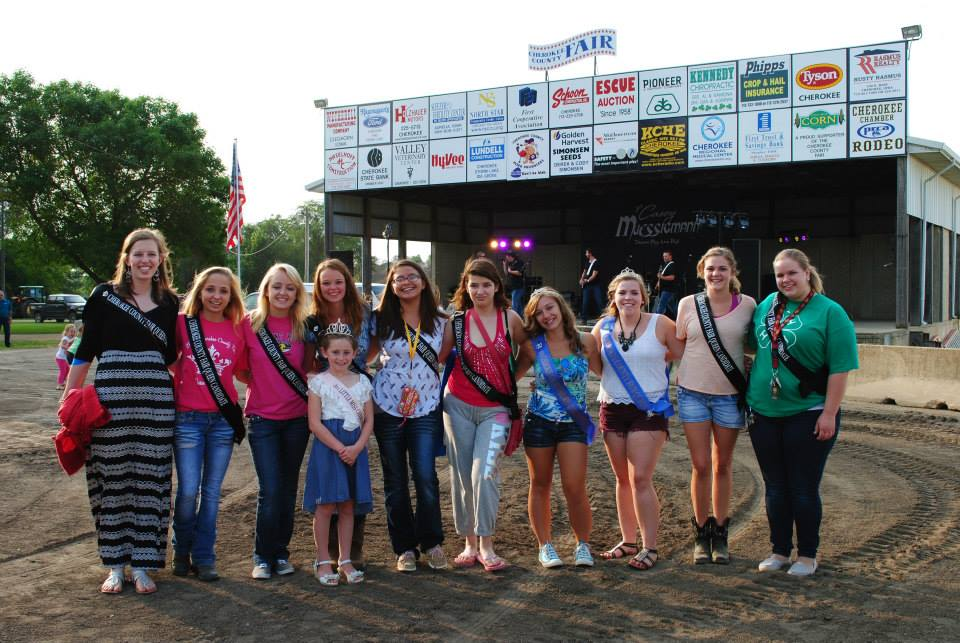2014 Queen Candidates  Left to Right: Grace Weiland, Hannah Burkhart, Emilee McGee, Taylor Hirschman, LaMeika LaPointe, Alicia Campuzano, Abby Lubeck (Miss Congeniality 2013), McKenna Mummert (2013 Cherokee County Fair Queen), Amber Neisius, Krista Mugge Front: 2014 Little Miss Emma Patterson