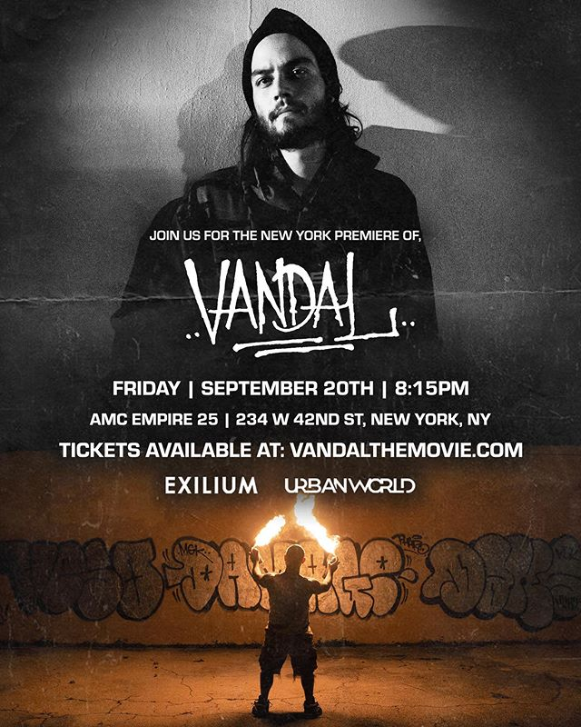 Excited to announce that @vandalmovie will premiere in New York at this year's @urbanworldfilmfest — This Festival is special because they expose stories, themes and characters that have been under-represented in our world. We are excited to be a part of it. You can buy tickets on our website. Link in our bio. 👊🏼 🔥 🎥 🎨 #vandalmovie #exilium17 #urbanworldfilmfestival #urbanworld #danielzovatto #latinofilm #latinofilmmaker #miamigraffiti #vandalism #streetart