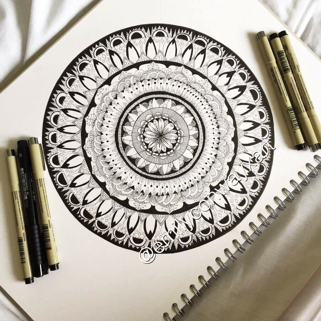 Step 3 - This was the finished one, I used an A3 sized piece of paper for this drawing because A4 was not big enough to get some of the details into the drawing. I think this is my best mandala yet and it definitely helps when you have to correct tools like a compass (thanks to my Aunty).