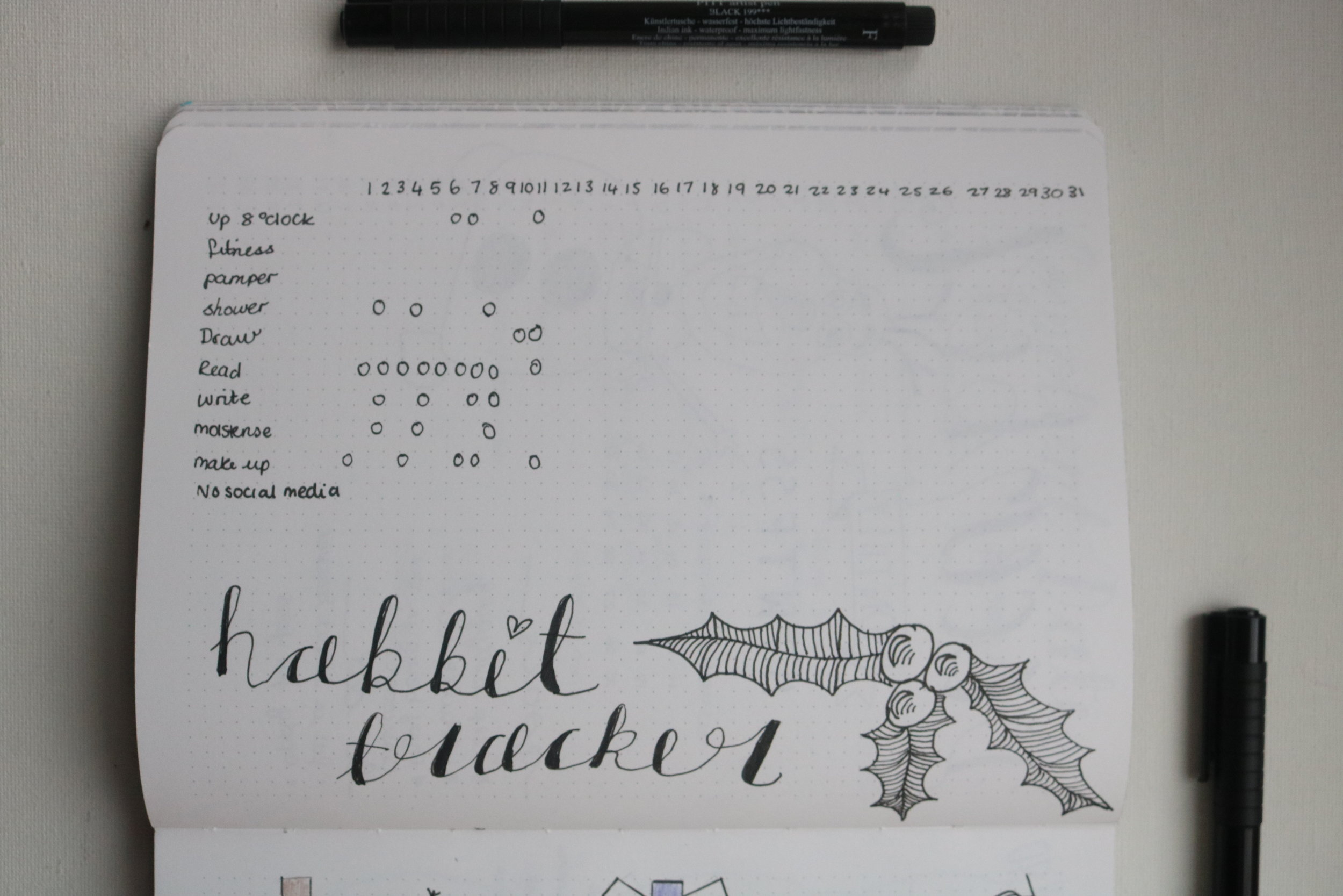 Habit Tracker - I wanted to keep my habit tracker really simple this month because I always forget to fill it in! I wanted to add some habits in this month that would improve my mood. Like art and reading so that these dark days are more enjoyable- or as enjoyable as they can be.