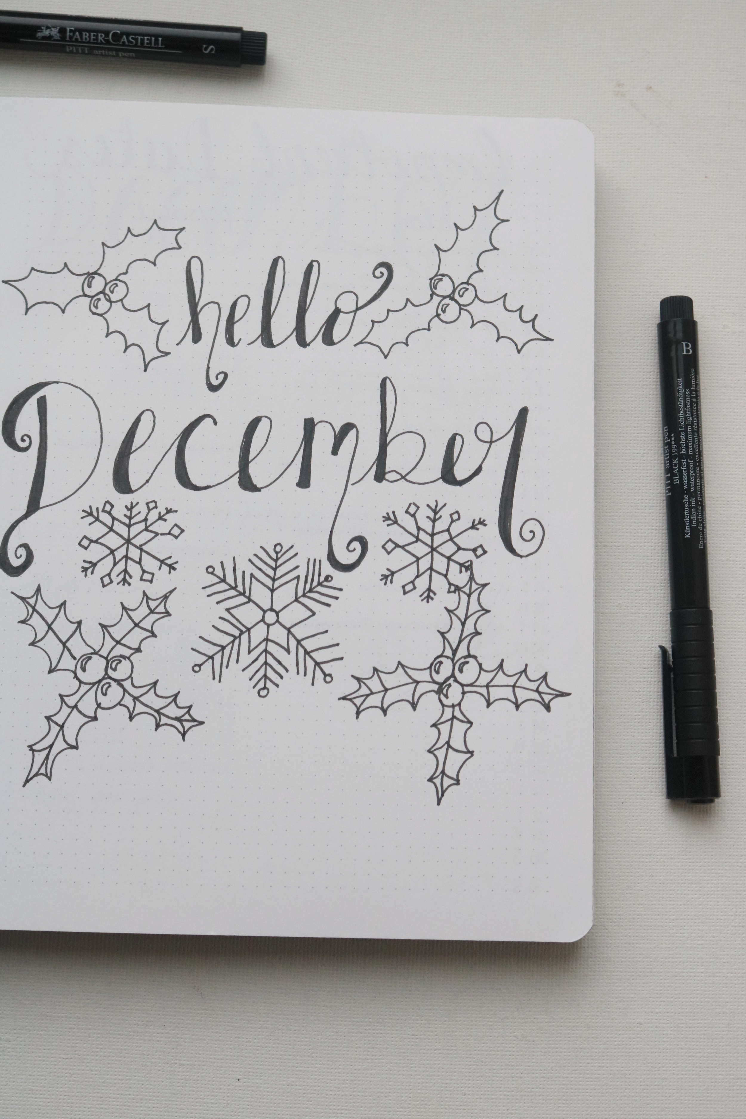 Hello Page - I normally like my bullet journal to be quite minimalist, but this month I decided to make sure that I used some of my creativity (at least for the front cover) and went for it with the holly and snowflakes. I really like how it turned out.