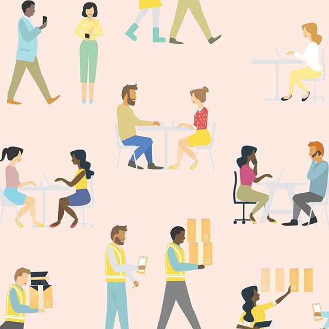People doing jobs #illustration #patterns #people