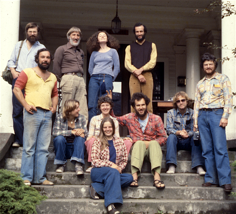 Some of the Conservation Centre staff, pictured above, took a fact finding trip to visit 'alternative energy' projects happening in Washington and Oregon. Those in the photo include Bob Woodsworth, John Olsen, Michael Levenston, John McBride, Tony Puddicombe, Gordon Holyer and Anne McLean. Spring/summer 1978.