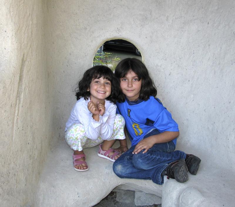 Children Enjoy the Cob Shed