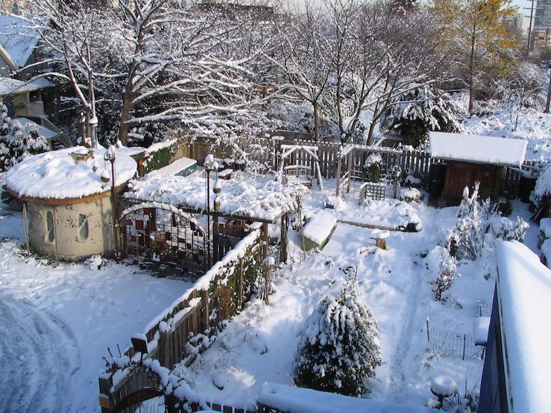 Snowfall Covers the Garden