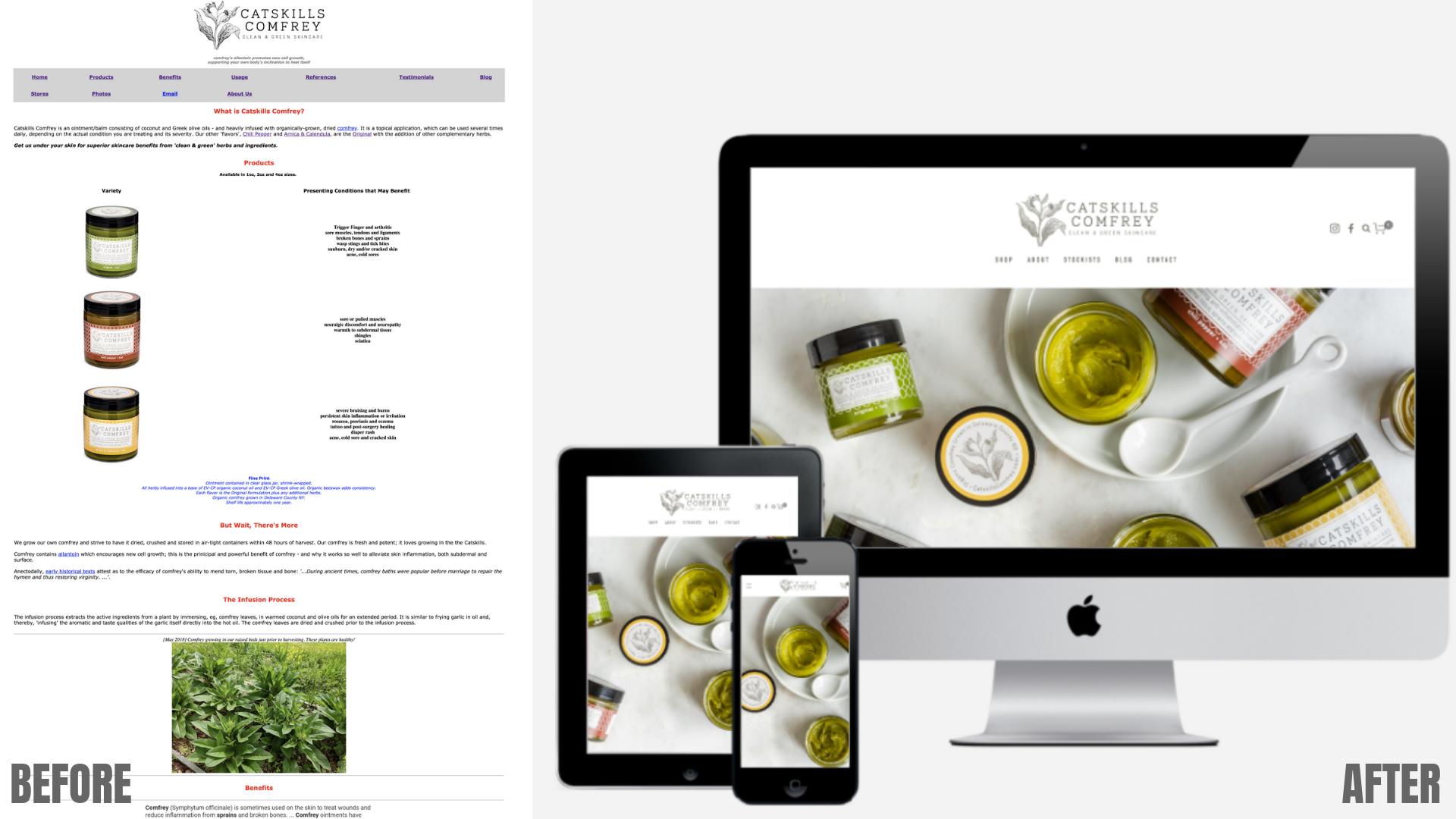 Catskills Comfrey   - new logo, product labels, e-commerce website.
