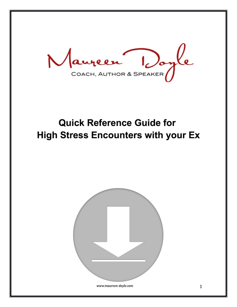 Quick Reference Guide High Stress Encounters