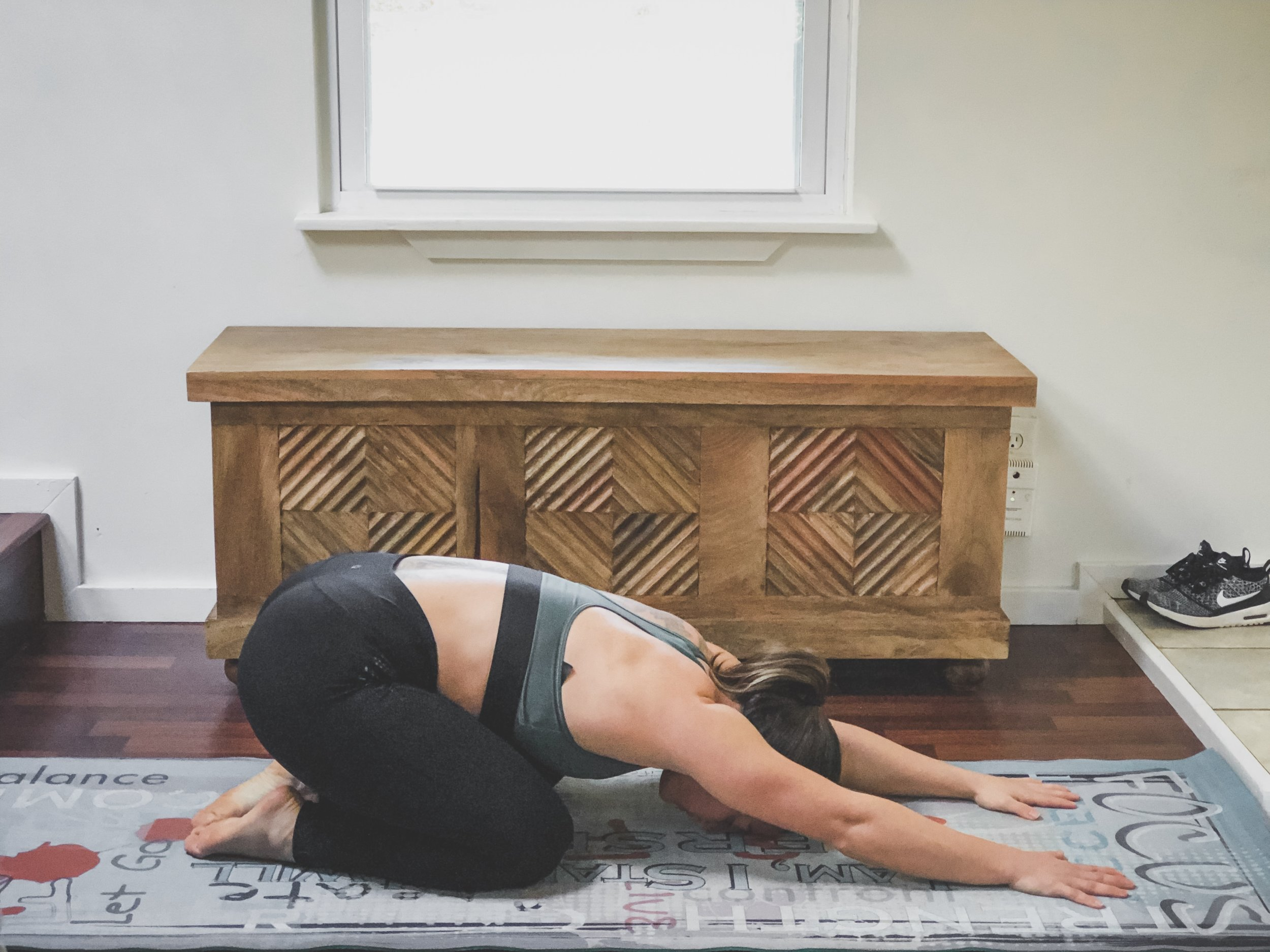 3. Child's pose - This stretch is subtle, gentle, but powerful for easing stress and promoting relaxation. It can also help with relieving back pain.
