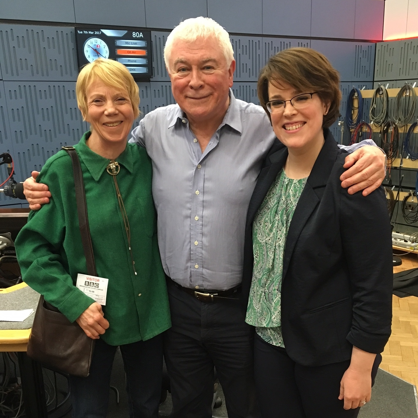 "Sheila Hayman and Angela Mace Christian with Sean Rafferty after the BBC Radio 3 ""In Tune"" interview (3.7.17)."