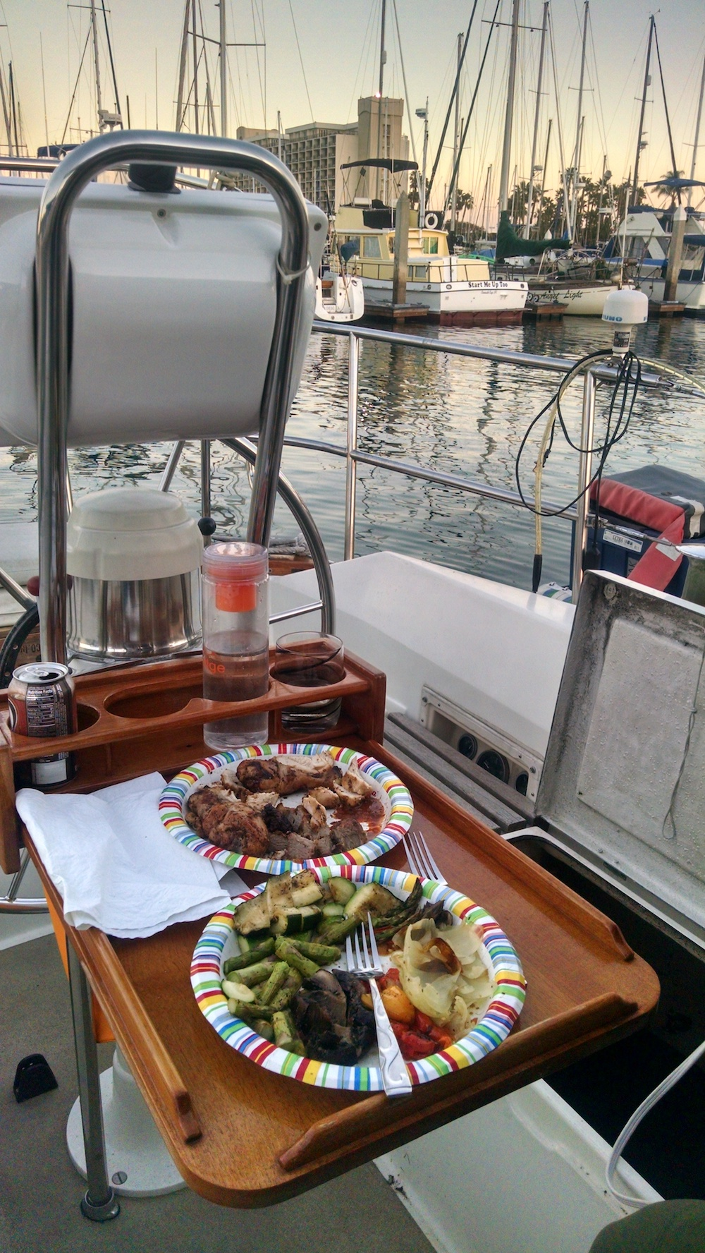 This picture was taken on February 21, 2016 before I had fully moved onto the boat and brought over actual dinner plates. You have to work with what you have and on this night it was paper plates.