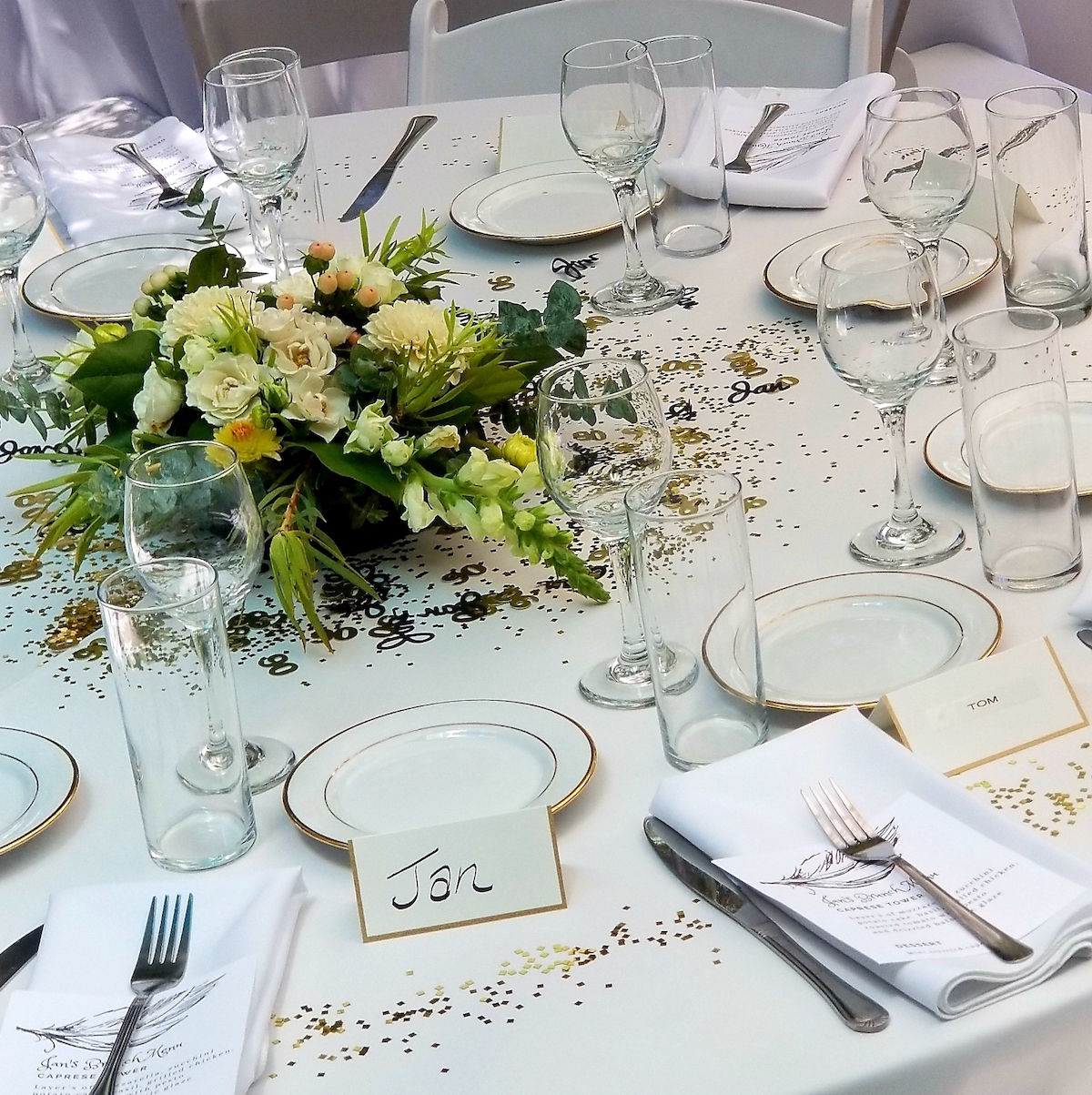 - Another service that is offered for any of our catering and personal chef events is full service planning from beginning to end and that includes coordinating any rentals or vendors.This theme was very elegant and the tables ended up being beautiful!