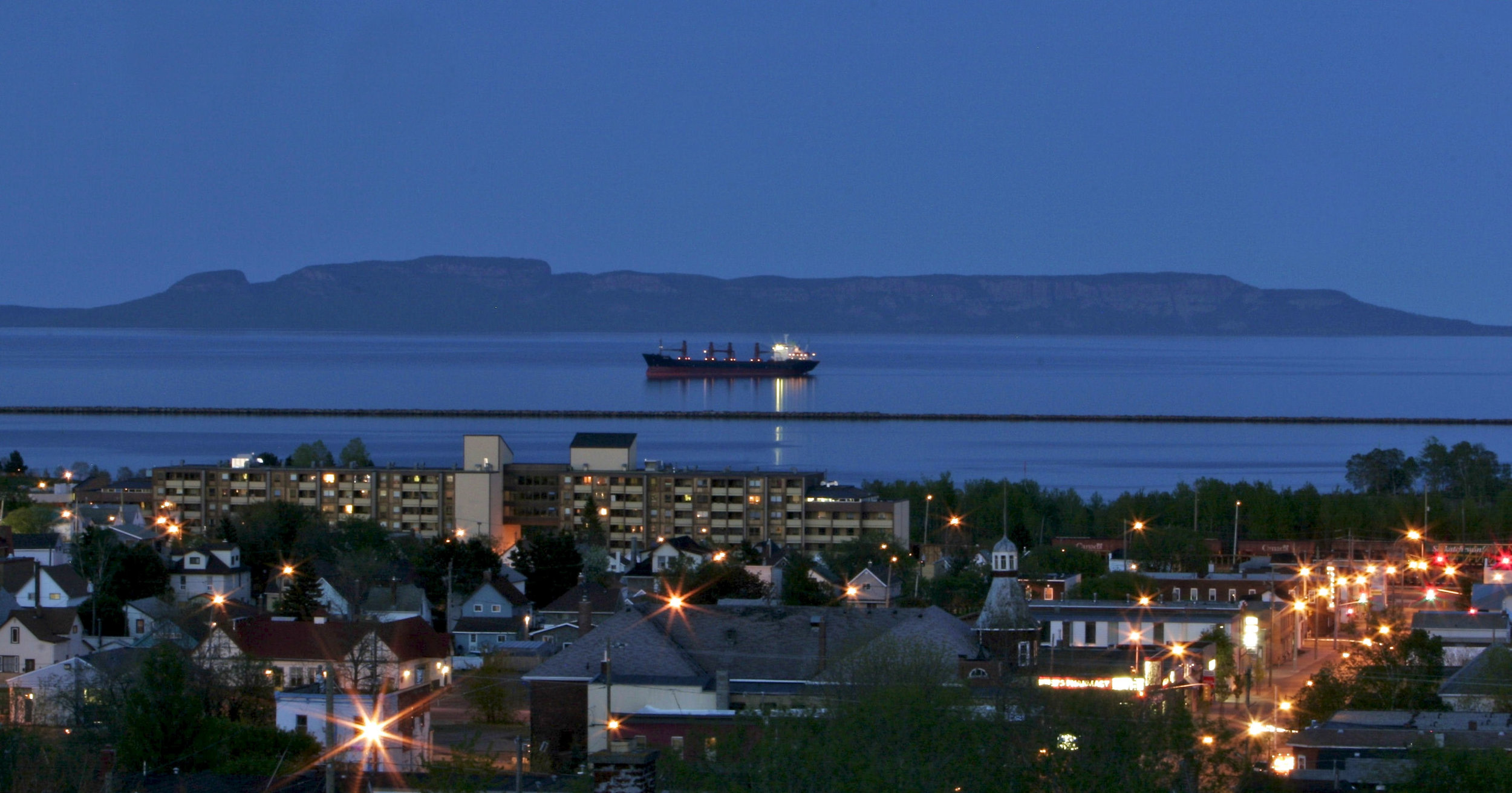 An evening view of our neighborhood in Thunder Bay and the Sleeping Giant.