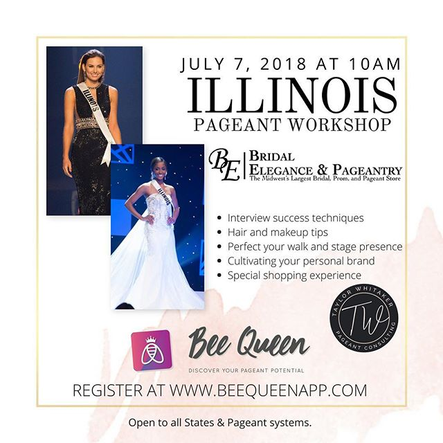 You're invited to @bridalelegance for a Pageant Workshop! July 7, 2018! See you there! Register at www.beequeenapp.com