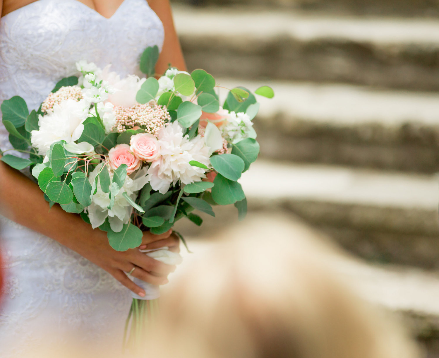 Bride's bouquet - white peonies, pink roses, eucalyptus