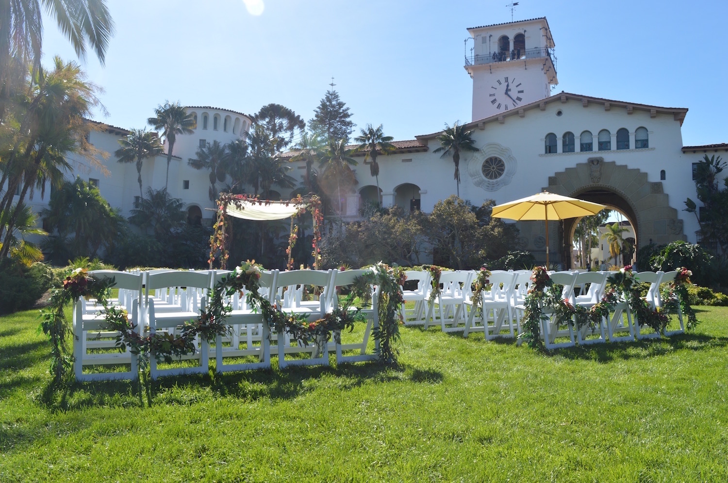 Fall wedding at the Palm Terrace facing Southwest corner