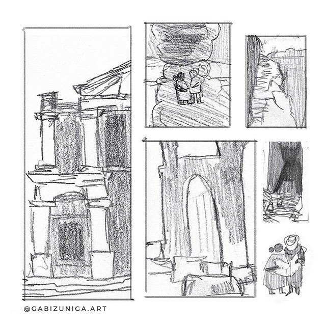 temple ruin sketches | this same duo will be on the boat from my previous post, on the way to these ruins. #sketches#concepts#bookillustration#character#illustration#desert#ruins#travelers#pencilsketch#traditionalart