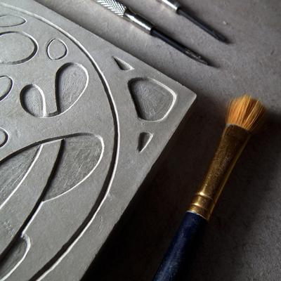 Art Nouveau Inspired Carved Tile