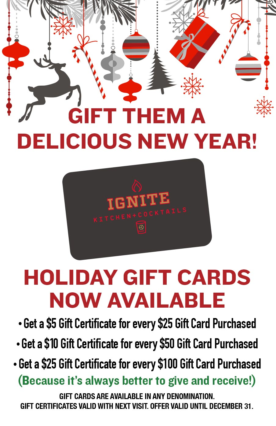 Holiday Gift Cards Available at Ignite