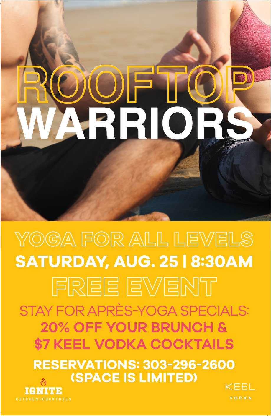 Join us for Yoga on the rooftop! - Calling all yogis! This class is perfect for all levels and takes place on our rooftop with the beautiful Denver skyline in the background. FREE to attend. Stay for aprs-yoga brunch specials!Reserver your spot: 303-296-2600