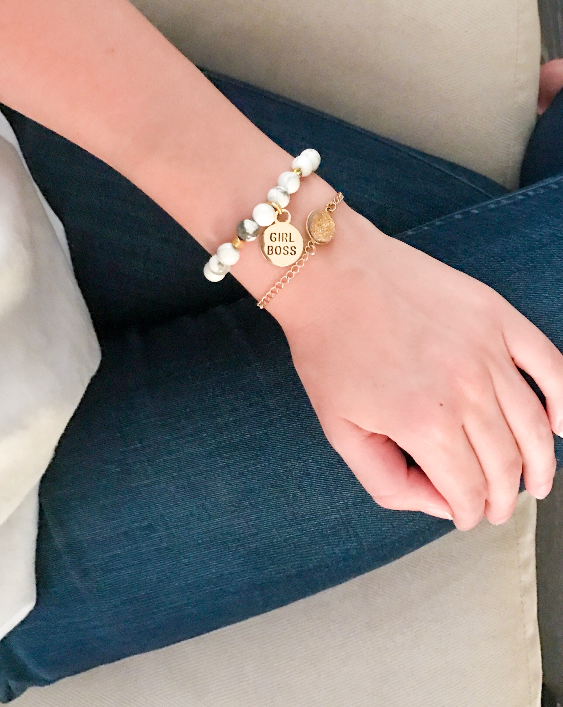 Featured:  Girl Boss Beaded Charm Bracelet, Howlite