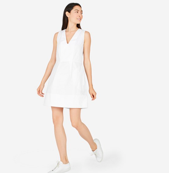 Cotton Poplin Sleeveless V-Neck Flare Dress - Everlane | $49 | On Sale!