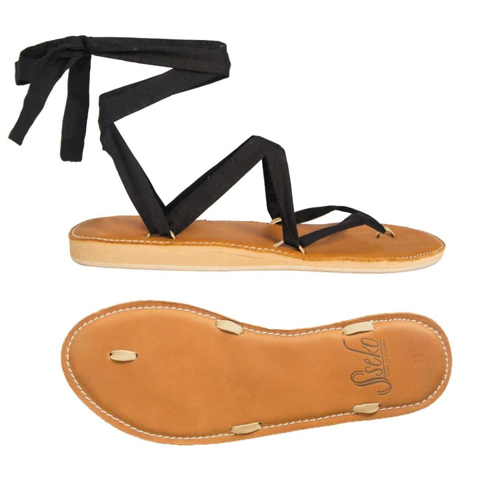 Carmel Leather Stitched Ribbon Sandals