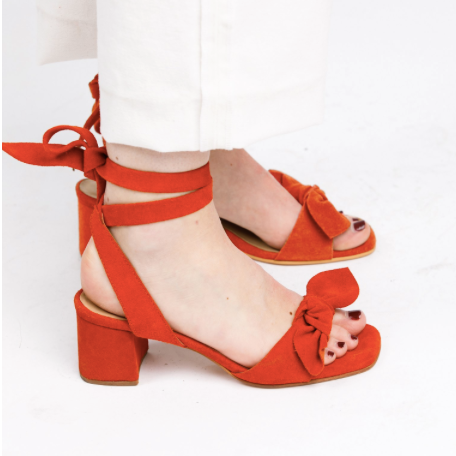Estefani Knotted Wrap Heel - ABLE | $128If these don't shout spring I don't know what will! You can customize them by removing the bow near the front strap as well.