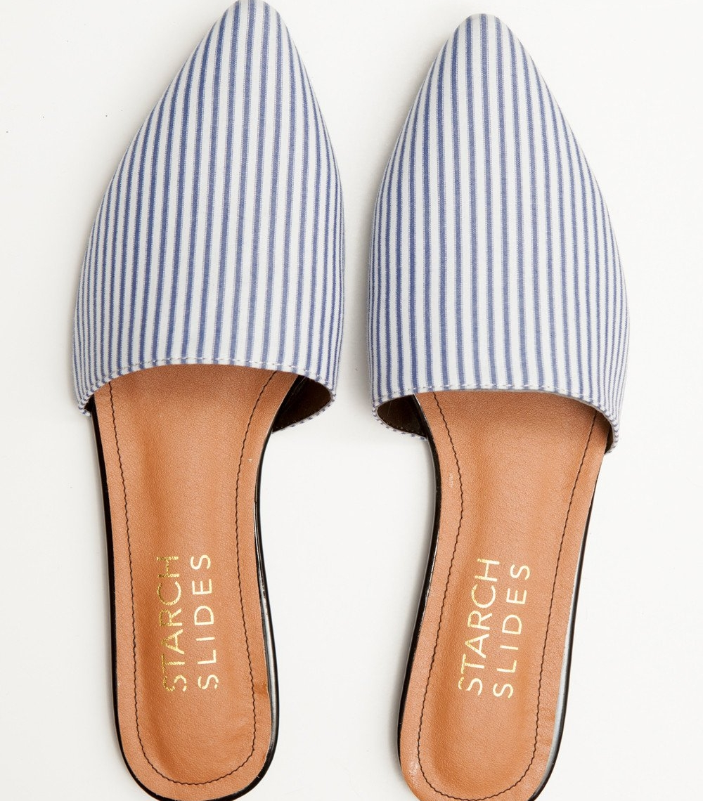The Dylan Slides - Starch Slides | $134These slides are made from recycled men's dress shirts. Classy, sustainable, vegan,and the prints are PERFECT for spring!