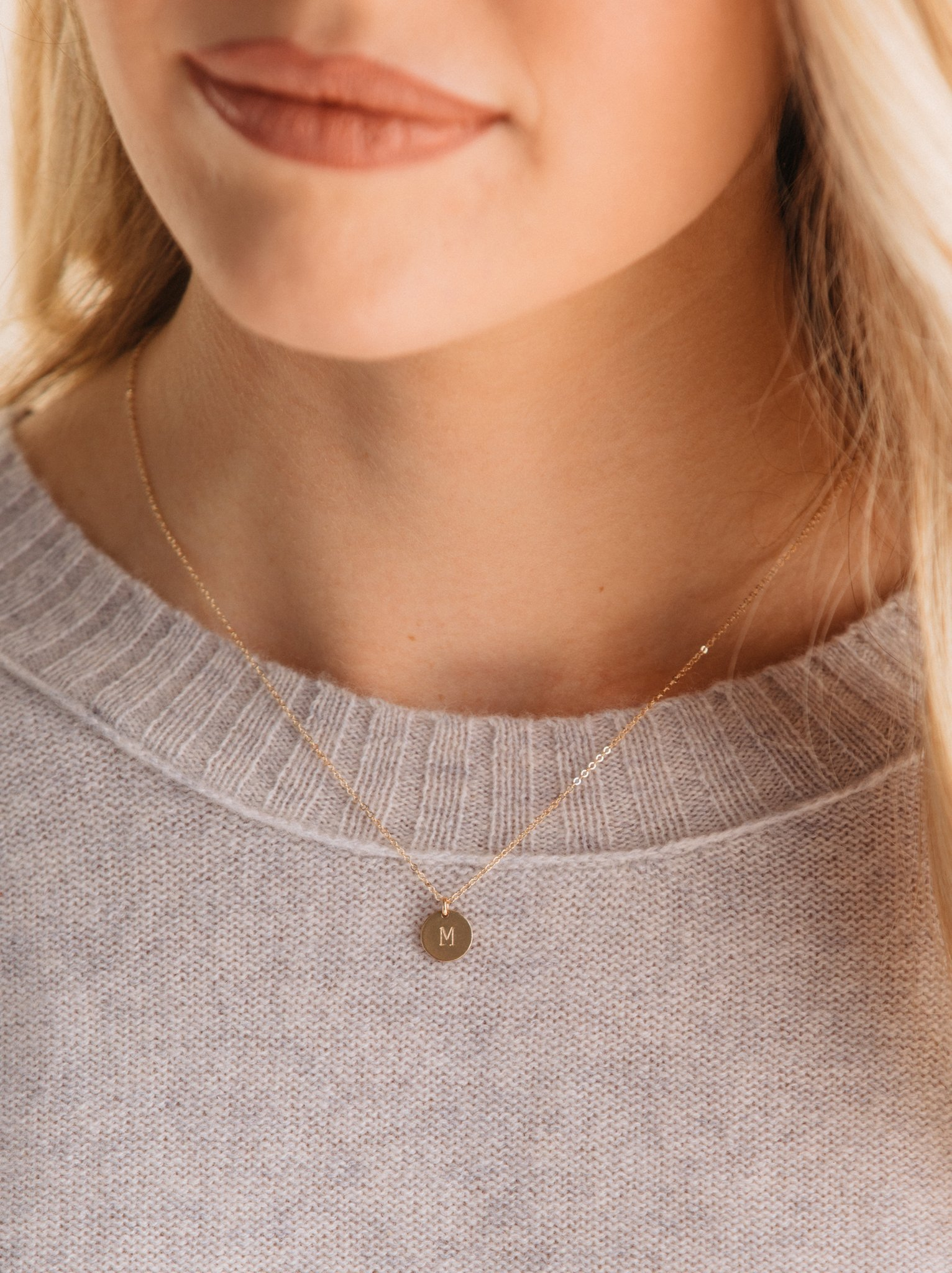 "Mini Initial Necklace - ABLE | Ethically made by women in Nashville | $40 with discount code ""KEIRA15"" for 15% offDelicate, simple, classic. You can even add multiple letters for each kid's initial!"