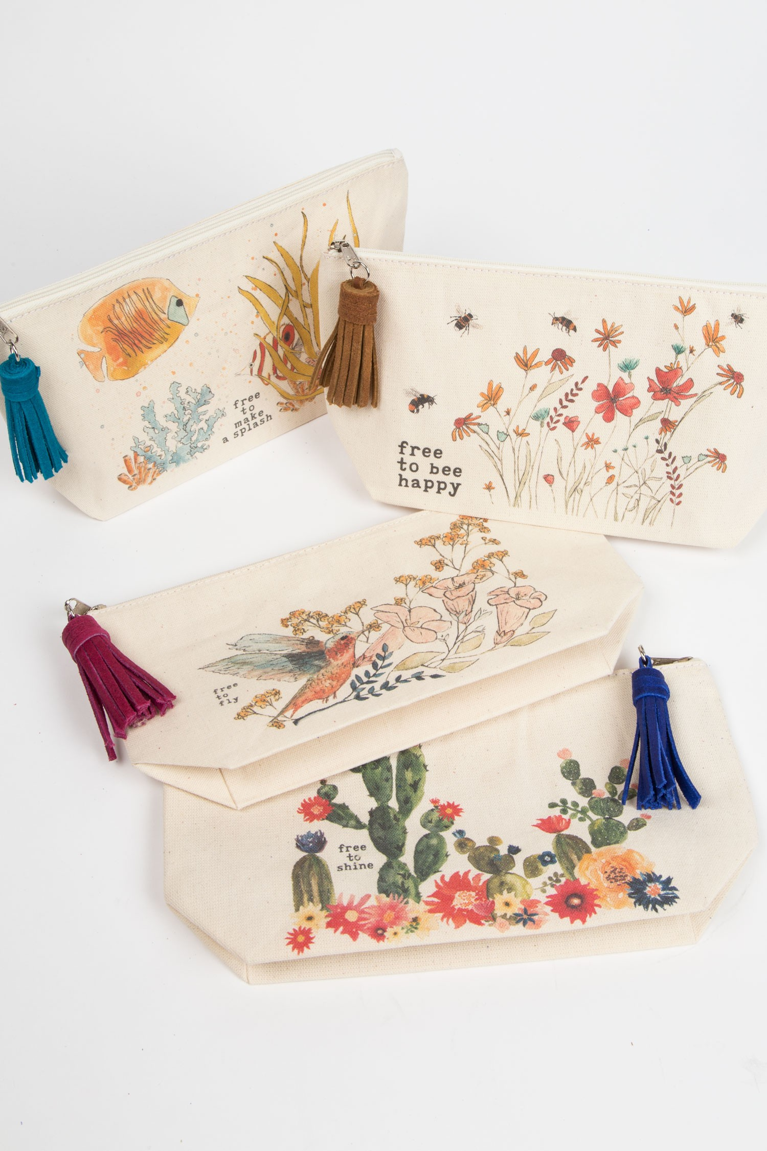 "Watercolor Pouch - Ten Thousand Villages | Fair Trade Certified | $17 with code ""STYLEMEFAIR25"" for 25% offThese beautiful pouches feature a watercolor design, a tassal, and a cute quote that's sure to make Mom smile. Uses: makeup bag, clutch, pencil bag."